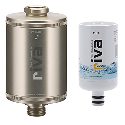 riva Filter | Trinkwasserfilter-Set Multi (Champagner) | Zertifizierter, sicherer Schutz gegen Legionellen, Bakterien, Keime in Küche, Dusche und Bad. Made in Germany.