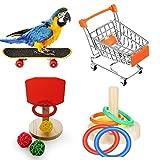 Hualieli Parrot Toy Set 4 Piezas Juego de Juguetes de Entrenamiento de Aves Incluye Carrito de Compras Anillo de apilamiento de Baloncesto Monopatín de Juguete para Juguetes