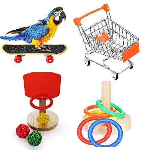 josietomy Papegaaien speelgoed, vogeltrainingsspeelgoed, set bevat vogel-basketbalspeelgoed, winkelwagen…