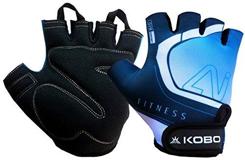 Kobo WTG-20 Lycra-Spandex Gym Gloves, Medium (Blue)