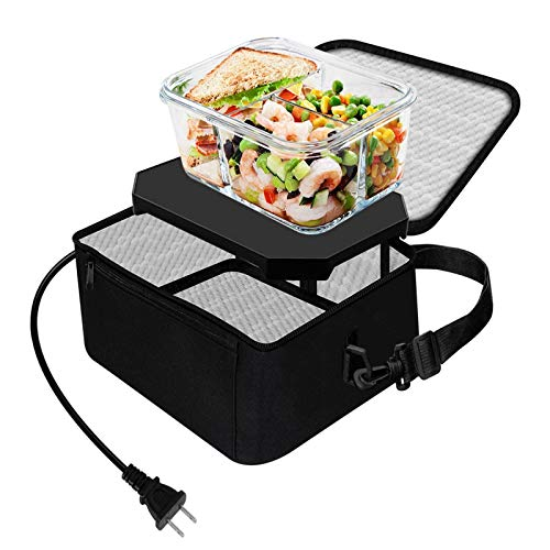 TrianglePatt Portable Oven,Portable Food Warmer 110V Mini Microwave for heated Meals,Upgraded Heat Plate with Bag for Office, Travel, Potlucks, and Home Kitchen(Black)