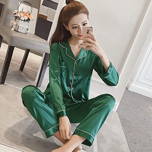 JFCDB Nachthemd Zijden Pyjama's voor Dames Vrije tijd Mevrouw Woninginrichting kleding Casual casual lange mouwen nachtkleding 2020 luxe luxe dameskleding, Kssi Baibian LV, L
