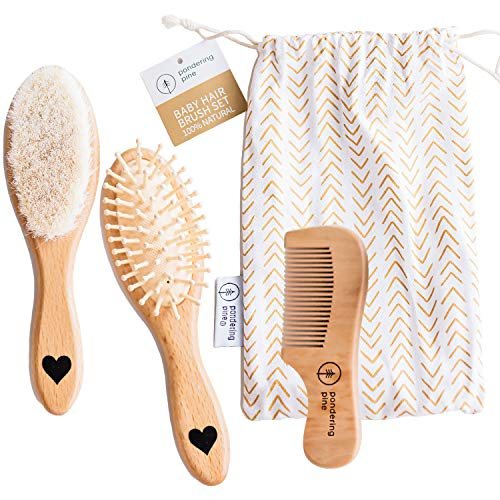 Natural Baby Wooden Hair Brush Comb Set with Travel Bag - Newborn Girl or Boy Hairbrush with Soft Goat Hair Bristles - Cradle Cap and Scalp Grooming for Infant, Toddler, Kids, Baby Shower Gift