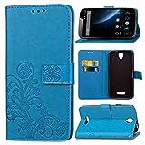 Schutzhülle Für DOOGEE X6 / X6 Pro , pinlu® Handyhülle Hohe Qualität PU Ledertasche Brieftasche Mit Stand Function Innenschlitzen Design Glücklich Klee Muster Blau