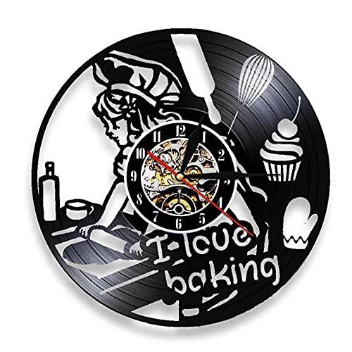 Reloj de Pared de Vinilo Vintage Postre De Pastel para Hornear Silueta decoración del hogar Handmade Amueblar Hogar Oficina Obras de Arte Hechas a Mano 7 Colores