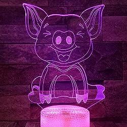 Jinson well 3D Schwein Lampe optische Illusion Nachtlicht, 7 Farbwechsel Touch Switch Tisch Schreibtisch Dekoration Lampen mit Acryl Flat Base USB Spielzeug