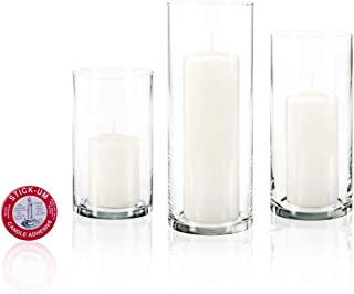 Yummi Set of 12 Slim Pillar Candles and Cylinder Vases - White
