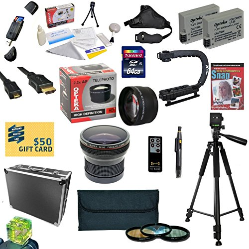 47th Street Photo All Sport Accessory Kit For the Canon Rebel T2i, T3i, T4i, T5i, 650D, 700D, Kiss X5 Kiss X4, KissX6i, Kiss X7i, EOS 550D, 600D DSLR Digital Camera - Kit Includes: 64GB High Speed SDXC Card + Card Reader + 2 Extended Life Batteries + Dual Battery Charger + 58MM Opteka HD2 0.20X Wide Angle AF Fisheye Lens + 58MM 2.2x HD2 AF Telephoto Lens + 58MM 3 Piece Pro Filter Kit (UV, CPL, FLD Lens) + HDMI Cable + Hard-Sided ABS Pro Case + Remote Control + Professional 60' Tripod + Lens