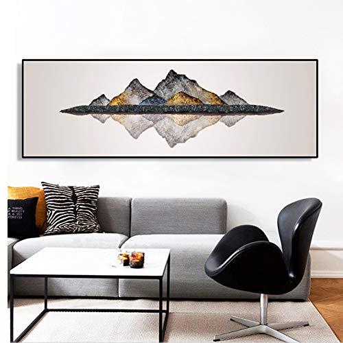 NIMCG Arte Abstracto Pintura al óleo Cartel y Trabajo Mural Lienzo Pintura Llama Montaña para Sala Decoración del hogar Pintura (sin Marco) R1 30x80CM