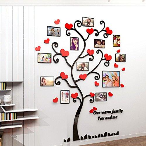 Alicemall Adesivi Murali Adesivo da Parete Wall Sticker in Acrilico Rimovibile a Forma di Albero con Rami Incurvati e Cornici Porta Foto (Stile 4 Rosso)