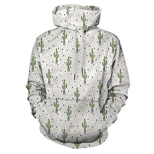 Exotic Pullover Hooded Sweatshirt Cactus Plants in Pots for Men/Women