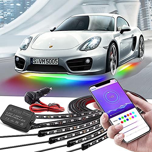Car Underglow Lights, Bluetooth Dream Color Chasing Strip Lights Kit, 6 PCS Waterproof Exterior Car...