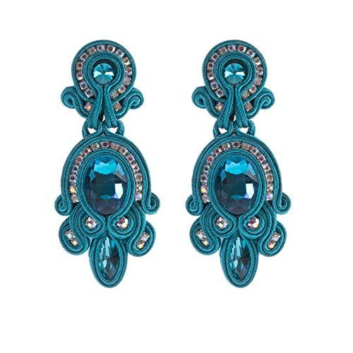 Ethnic Style Leather Drop Earrings Jewelry Women Soutache Handmade Weaving Big Hanging Earring blue