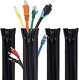Rantizon - Funda organizadora de cables de 19,7 pulgadas, organizador de cables, funda de gestión de cables, sistema de gestión de cables para TV/ordenador/entretenimiento en el hogar [4 unidades]