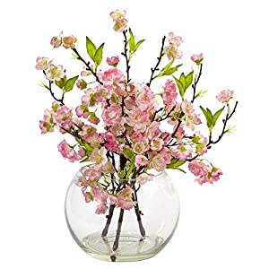 Nearly Natural 4572 Cherry Blossom in Large Vase Pink, 14″tall