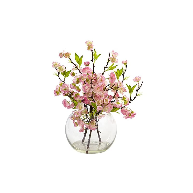 """silk flower arrangements nearly natural 4572 cherry blossom in large vase pink, 14""""tall"""