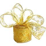 COLOROUND Cinta de Navidad de organza Cinta de árbol de Navidad perfecta para envolver regalos de boda Cinta de patrón de gancho dorado Cinta de árbol de Navidad para decoraciones navideñas