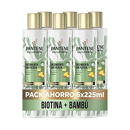 Pantene Pro-V Miracles Crecimiento con Fuerza Champú Con Bambú Y Biotina 6 x 225ml