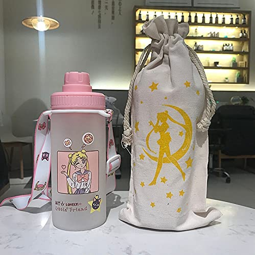 TJYEDUW Taza de cristal de paja con diseño de corazón rojo para niña, color rosa