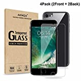 (4-Pack) Screen Protectors for iPhone 8, 7, 6S, 6 with Back Covers, Akwox 9H Tempered Glass Front and Back Screen Protector for iPhone 8, 7, iPhone 6S, iPhone 6 [4.7' inch] 2017 2016, 2015
