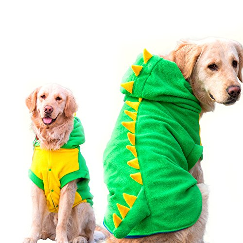 FLAdorepet Funny Halloween Big Large Dog Dinosaur Costume Jacket Coat Warm Fleece Winter Golden Retriever Pitbull Dog Clothes Hoodie (3XL, Green)