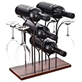 FOSTERSOURCE Wine Rack Wine Storage Shelf Wine Bottle Holder, Hold 4 Bottles Wine and 4 Glass for Home and...