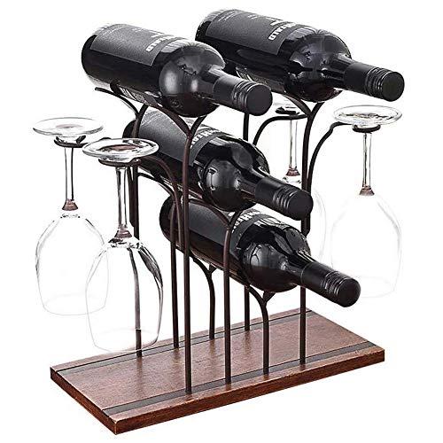 FOSTERSOURCE - Estante de madera para vino (4 botellas, soporte para 4 copas de vino, estante de almacenamiento para despensa, bodega, cocina, bar, bronce