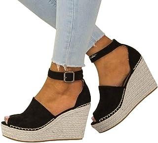 baa02a3f5d Sandalias de Mujer Plataforma,JiaMeng Moda Polaco Dull Costura Peep Toe  Cuñas Hasp Sandalias Zapatos