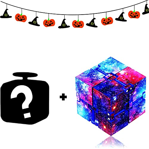 Eoqiza 2 Pieces Infinity Cubes Fidget Cubes, Fidget Blocks for Stress and Anxiety Relief Mini Preschool Toys, Magic Puzzle Flip Cube Fidget Finger Toys Cube for ADD ADHD Killing Time (Starry)