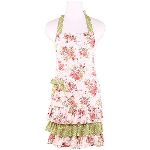 NEOVIVA Gartenschürzen für Damen mit Tasche, robuste Canvas-Rüschenschürze für die tägliche Küche, Kochen, Backen, Grillen und Grillen, Stil Doris, Floral Quartz Pink