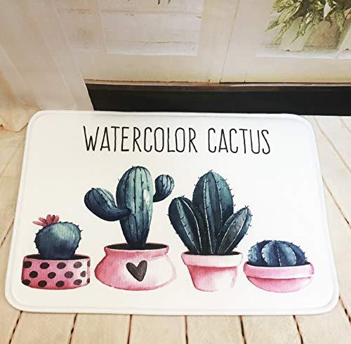 GjbCDWGLA anti-slip badmat deurmat, donkergroene Cactus Bonsai wasbare badmatten, zachte microvezel douchetapijt 50 * 80 cm