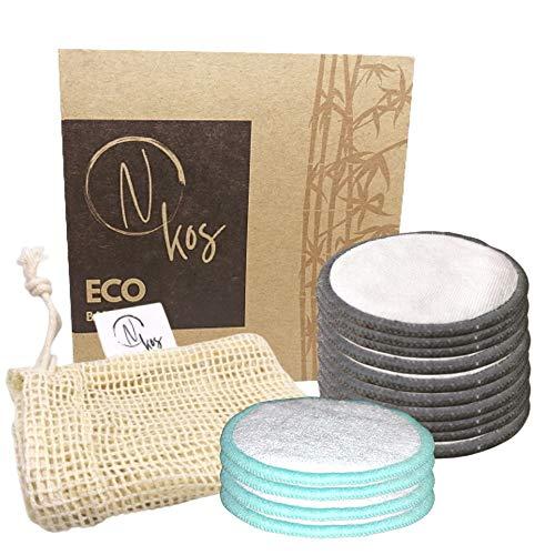 N KOS | Eco Bamboo Pads | 10 Dischetti Struccanti Lavabili + 4 Dischetti Scrub Lavabili + 1 Custodia Per Bucato | Ecologici Lavabili e Riutilizzabili In Bambù