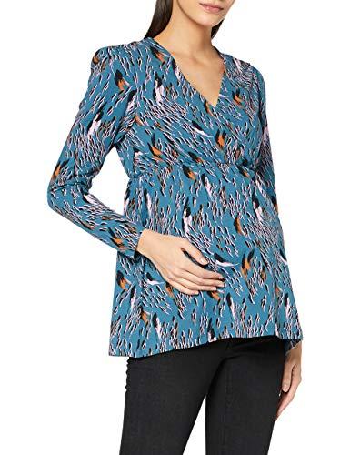 MAMALICIOUS MLADDIS Tess L/S Jersey Top 2F A. Blusas, Azul Marino/AOP: AOP, S para Mujer