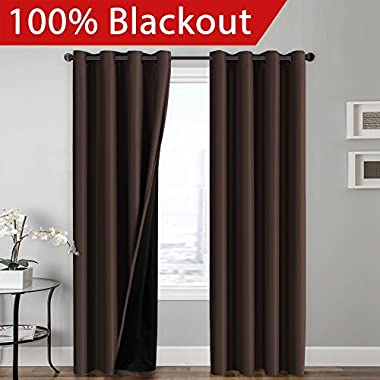 Flamingo P 100% BLACKOUT Curtain Set, Thermal Insulated & Energy Efficiency Window Drapery, Lined Silky Performance, Brown Color, Grommet, Set of 2, W52 x L84