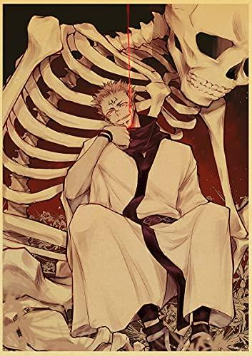 jiayouernv Póster De Anime Jujutsu Kaisen, Póster De Papel Kraft Retro para Sala De Estar, Bar, Decoración De Interiores, Pegatinas, Pintura De Pared C408 50X70Cm