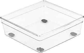 "Glad Clear Plastic Organizer Bin – 6"" x 6"" x 2.2"" Drawer Storage Tray with Non-Slip Feet"
