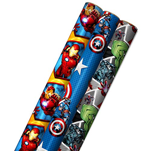 Hallmark Avengers Wrapping Paper with Cut Lines on the Reverse (3-Pack: 60 sq. ft. ttl) with Captain America, Iron Man, Black Widow, Thor and Hulk for Birthdays, Christmas, Father's Day and More