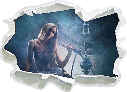 Stil.Zeit Schöne Frau mit Shisha im Nebel, Papier 3D-Wandsticker Format: 92x67 cm Wanddekoration 3D-Wandaufkleber Wandtattoo