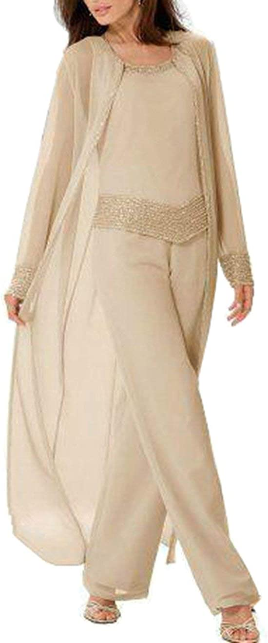 TcaLuky Women's 3 Pieces Mother Of The Bride Pant Suits With Beading For Wedding Groom