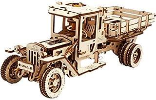 Ugears - Truck Ugm-11 - 420 Parts - 3D Wooden Puzzle - Mechanical Model - Ugr-70015 - Brown