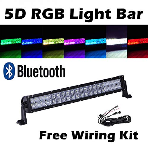 omotor 5D 22 Inch RGB Cree Led Work Light Bar APP Bluetooth Control Strobe Multicolor Spot Flood Combo Beam (RGB-5D)