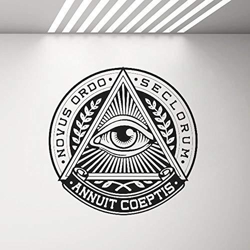 Alle sehenden Augen Vinyl Aufkleber Pyramide Auge Wandtattoo Helle Logo Aufkleber Wand Vinyl Wohnkultur Wohnzimmer Schlafzimmer Dekor Wandbild A9 42x42cm