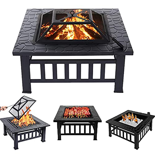 3 in 1 Square Fire Pit with Poker,Outdoor Fire Pits BBQ Square Metal Firepit Table Backyard Patio Bonfire Garden, 81x81x36.5cm (LxWxH)