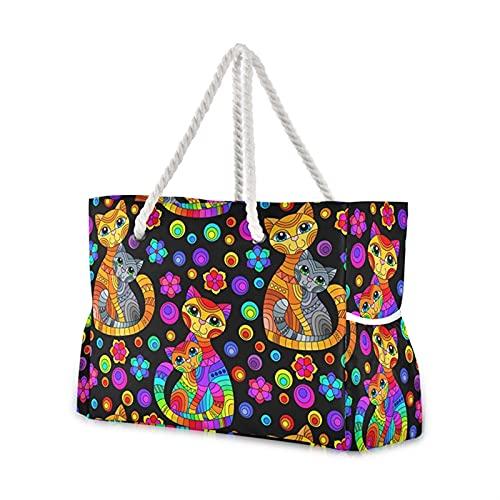 yqs Bolsa de Playa Bolso de Hombro Impresión de Dibujos Animados Nylon de Gran Capacidad Tela de Tela algodón Reutilizable Bolsa de Compras Femenina Bolso de Playa (Color : 03)