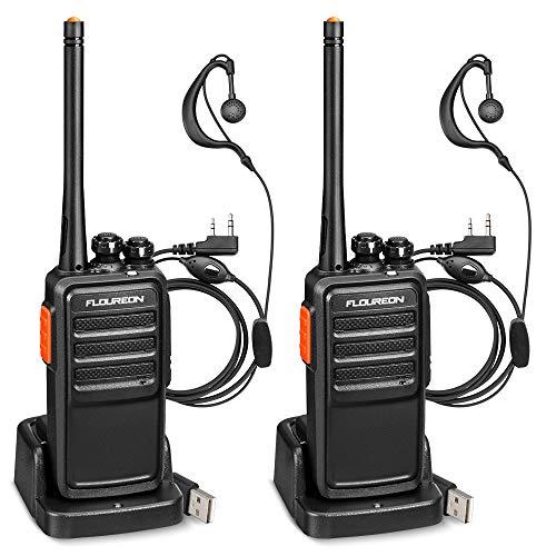 FLOUREON Recargable Walkie Talkie 16 Canales PMR446 MHz Sin Licencia Radio Bidireccional Transceptor de Mano Indicador de Interphone de Largo Alcance Tot con LED Auriculares (Negro, 1 par)
