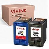 VIVINK - Cartuchos de tinta remanufacturados para HP 56, 57, 56XL, 57XL, compatibles con HP PSC 2110, 1210, 2210, Deskjet 5550, 450CBi, 450Ci Officejet 5610 4215 (1 negro, 1 tricolor)