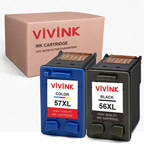 VIVINK Cartuchos de tinta remanufacturados de repuesto para HP 56, 57, 56XL, 57XL, compatible con HP PSC 2110, 1210, 2210, Deskjet 5550, 450CBi, 450Ci, Officejet 5610, 4215 (1 negro, 1 tricolor)