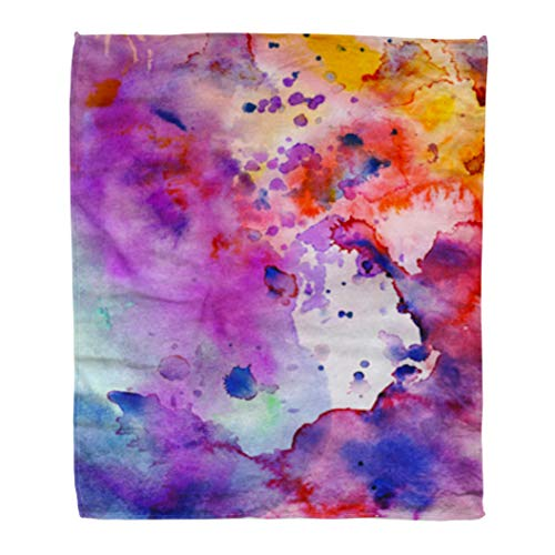 Golee Throw Blanket Watercolor Pastel Abstract Paint Splatter Orange Stoke Painting Ink Brush 60x80 Inches Warm Fuzzy Soft Blanket for Bed Sofa