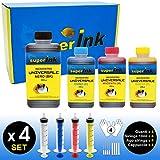 (M) Medium-4 Kit de tintas superink Universal (Dye) para impresoras de inyección de Tinta 1x500ml Negro + 3x250ml (Cian + Magenta + Amarillo) + 4 Set de Accesorios (Guantes, jeringas, Agujas)