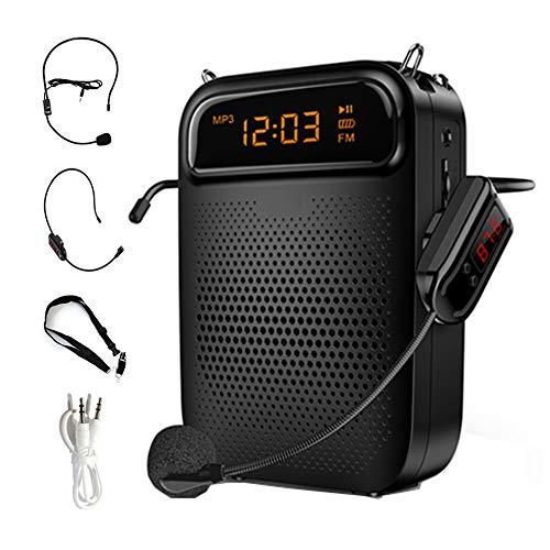 IQQI Inalámbrico Portátil Recargable Mini Amplificador De Voz con Pantalla LED, Compatible con FM/Grabación/para Profesores Guías De Turismo Y Más,Negro